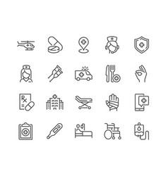 Line medical assistance icons vector