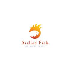 logo grilled fish restaurant vector image