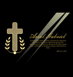 Luxurious obituary with golden crucifix and vector