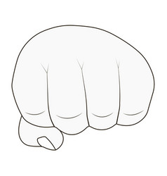 mans hand clenched into fist outlines vector image