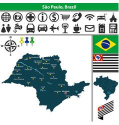 Map of sao paulo brazil vector
