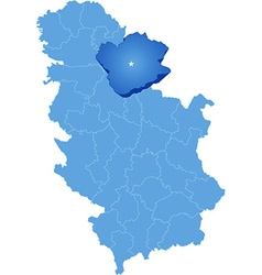 Map of Serbia Subdivision South Banat District vector