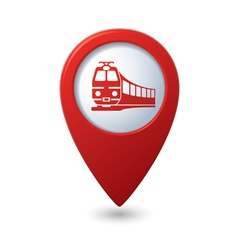 Map pointer with train symbol vector image