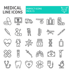 medical line icon set hospital symbols collection vector image