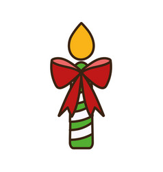 merry christmas candle red bow celebration vector image
