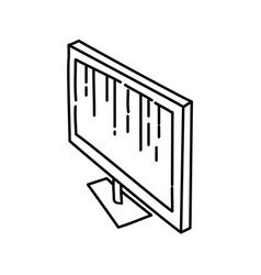 monitor icon doodle hand drawn or outline icon vector image