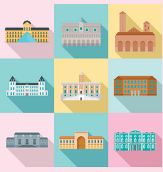 Museum day italy palace icons set flat style vector