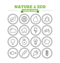 Nature and Eco linear icons set Thin outline vector image