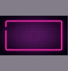 neon sign in rectangle shape bright neon light vector image