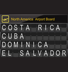 North america country airport board information vector