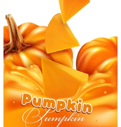 orange background with slices of pumpkin vector image