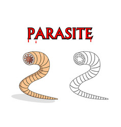 parasitic nematode worms in cartoon design vector image