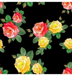 Pattern with Roses on Black Background vector