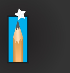 Pencil and star background vector image