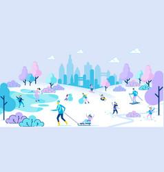 people skiing skating sledding in winter park vector image