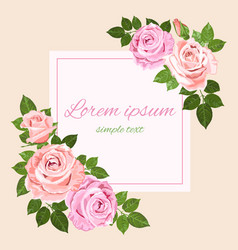 pink and beige roses square greeting card vector image