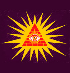 Pyramid with eye vector