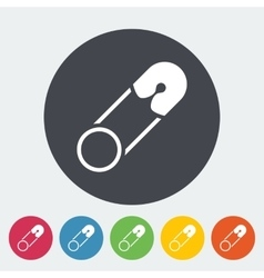 Safety pin flat icon vector