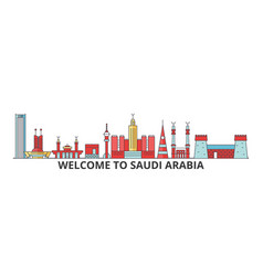 Saudi arabia outline skyline arab flat thin line vector