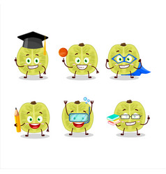 School student slice amla with various expressions vector