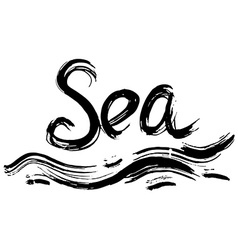 Sea hand lettering handmade calligraphy vector
