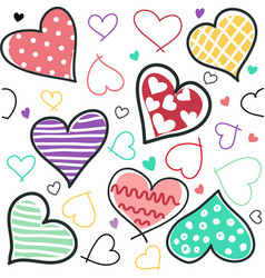 seamless background of hand drawn stylized hearts vector image