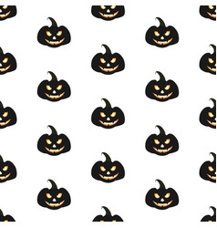 seamless pattern with halloween pumpkins with vector image