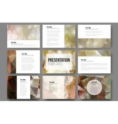 Set of 9 templates for presentation slides Brown vector image