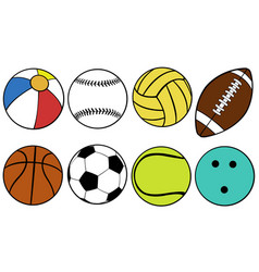 set of different game balls vector image