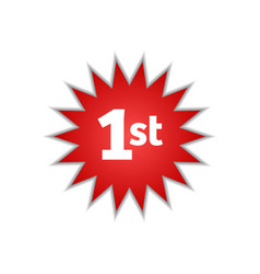 Sign number one first circular star icon isolated vector