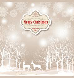 snow winter landscape deers merry christmas card vector image