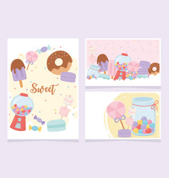 sweet products donut ice cream cookies candies vector image