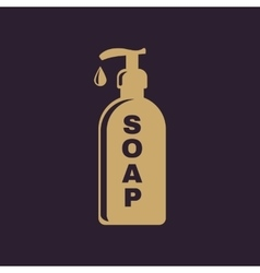 The liquid soap icon Hand wash symbol Flat vector