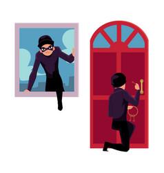 thief burglar breaking in house through front vector image