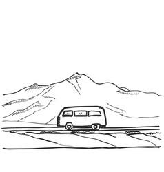 Travel bus hand drawn road near vector