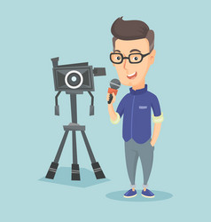 Tv reporter with microphone and camera vector