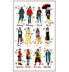 twelve young women or girls wearing stylish vector image