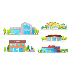 vet clinic veterinary animal hospital buildings vector image