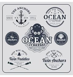 Vintage nautical labels set vector