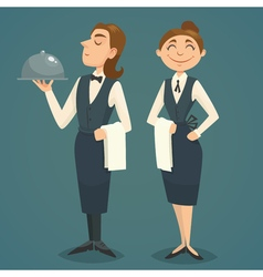 Waiter and waitress character design cartoon vector