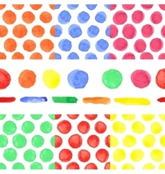 Watercolor colored polka dot seamless patternBaby vector image