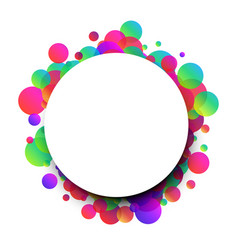 White round background with colour bubbles vector