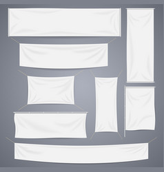 White textile banners with folds template vector image