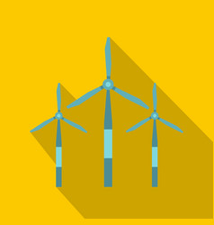 Wind turbine icon flat style vector