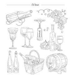 Wine and Accessories Hand drawn Set vector image