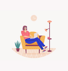 Woman sitting on sofa and working vector