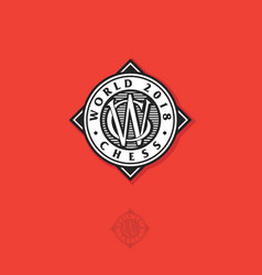 world chess emblem or chess tournament logo vector image