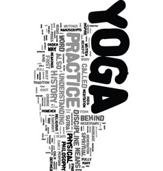 yoga history text word cloud concept vector image