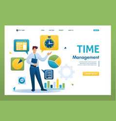 Young businessman is engaged in time management vector