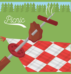 picnic food grilled checkered tablecloth meadow vector image